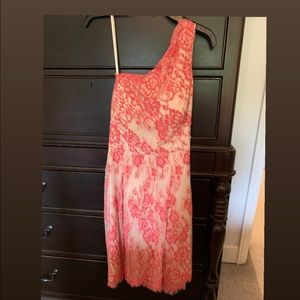 Adrianna Papell 1 shoulder chiffon cocktail dress